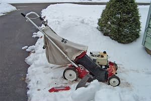 Yes I am mowing the snow.  I got this mower for free from another freecycler. Very psyched about all the attachments they also gave me!